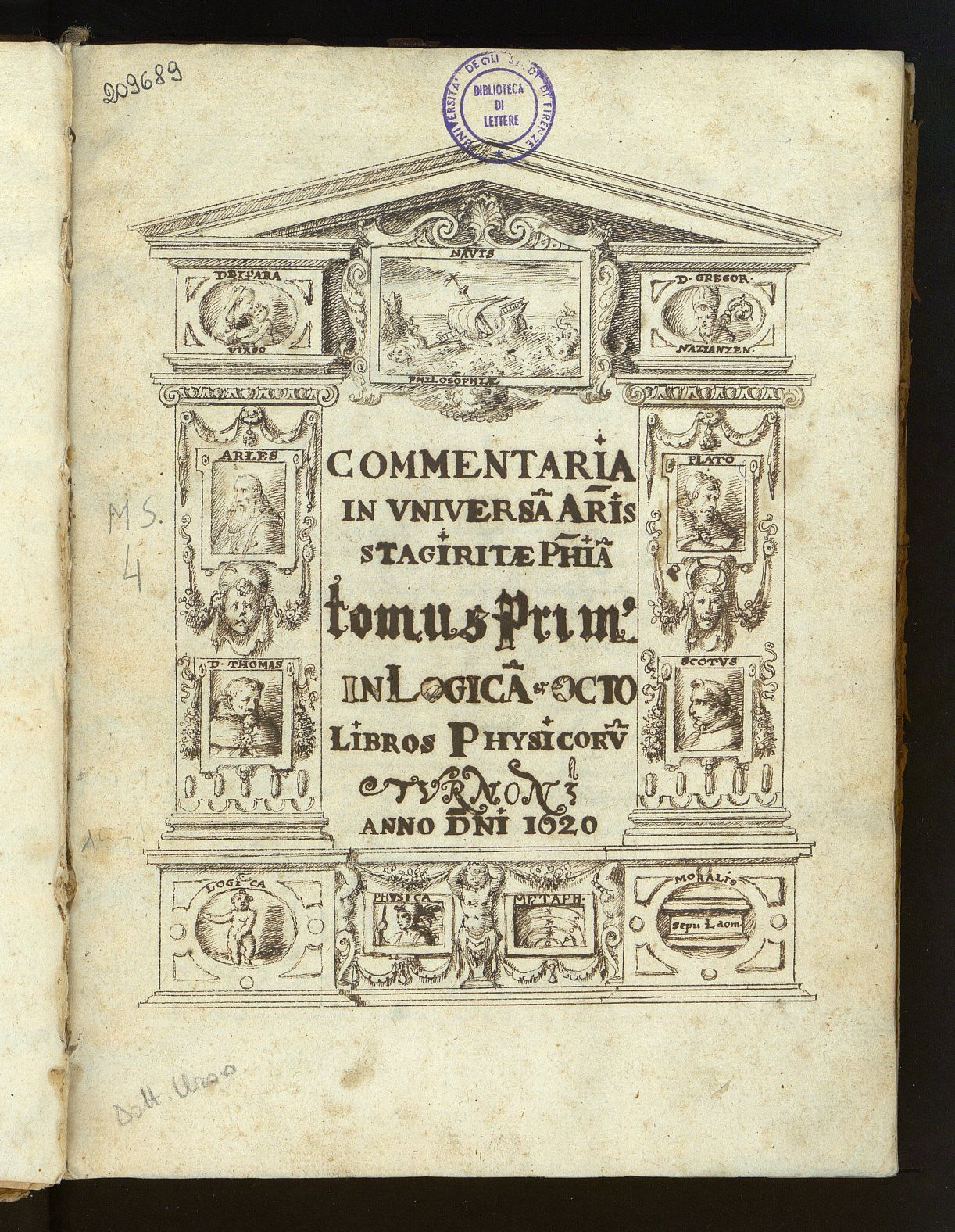 Aristoteles, Commentaria in universam philosophiam, carta [1] recto