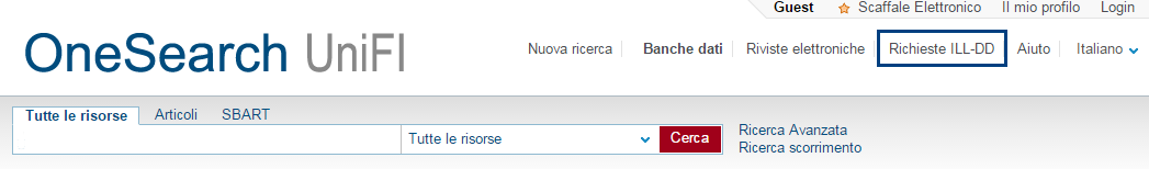 Prestito interbibliotecario OneSearch Unifi
