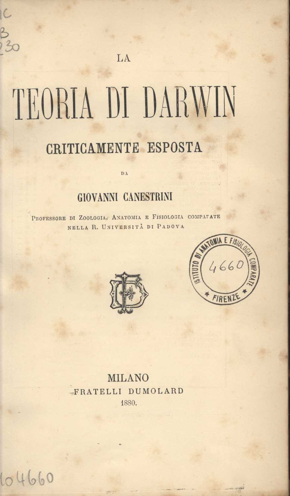 frontespizio di On the origin of species by means of natural selection