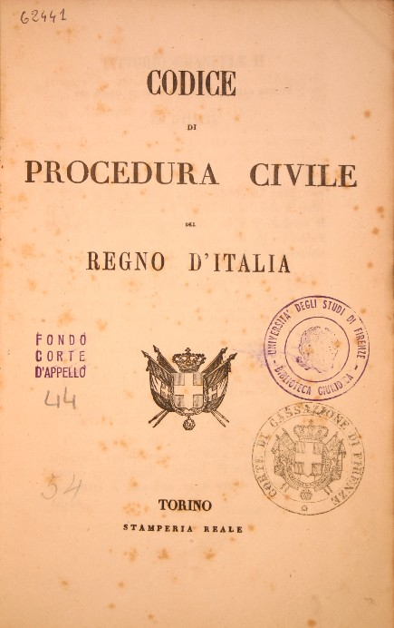 Frontespizio del Codice di procedura civile