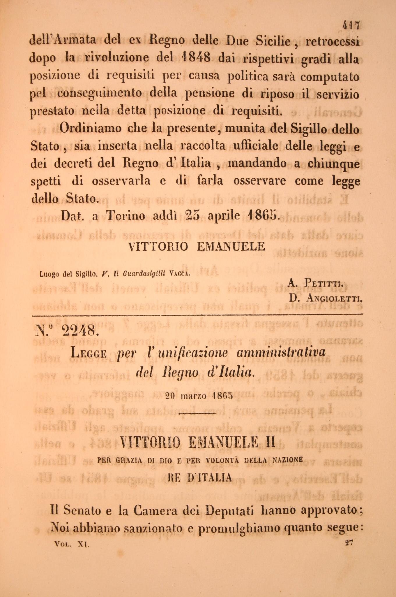 Legge per l 39 unificazione amministrativa eventi e mostre for Aggiunte di legge